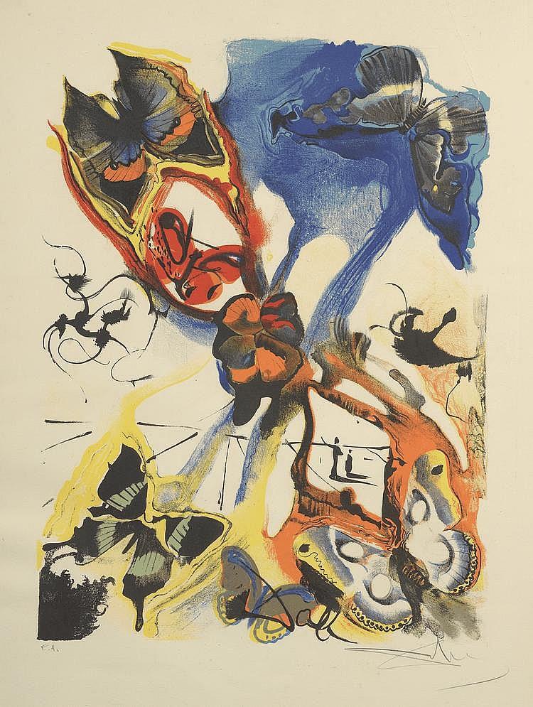 DALI (d'après). «Les papillons». Lithographie couleur, épreuve d'artiste signée en bas à droite au crayon. 65 X 50.