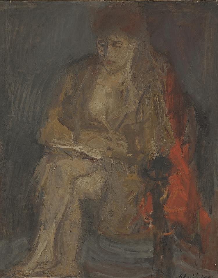 Isaac SELNIKIERÉcole française XXème. «Jeune femme lisant». Toile signée en bas à droite. 100 x 80 cm. (au dos paysage de montagne).