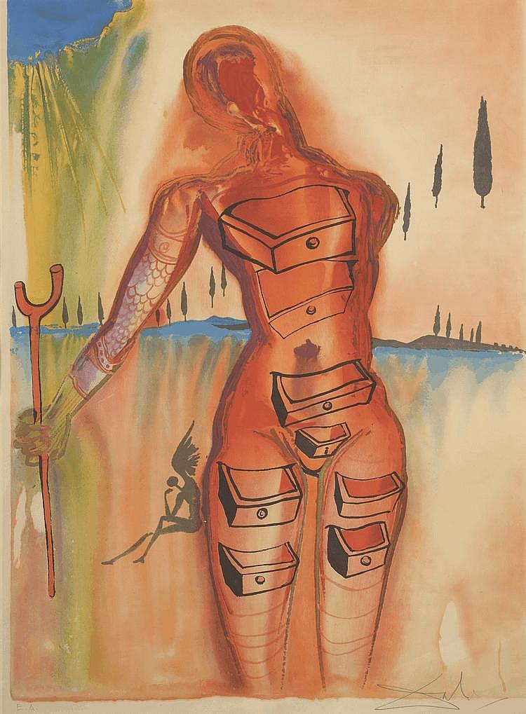 DALI (d'après). «La femme aux tiroirs». Lithographie, épreuve d'artiste signée en bas à droite au crayon. 78 X 58.