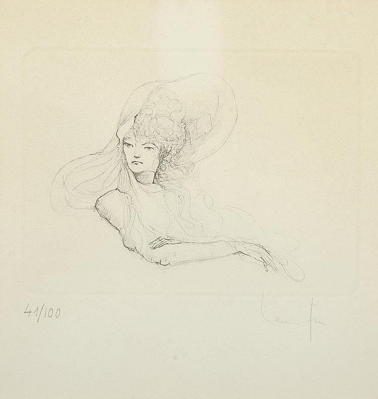 Léonor FINI. «Étude de femme». Lithographie noir & blanc n°41/100, signée en bas à droite. 20 X 23 à vue.