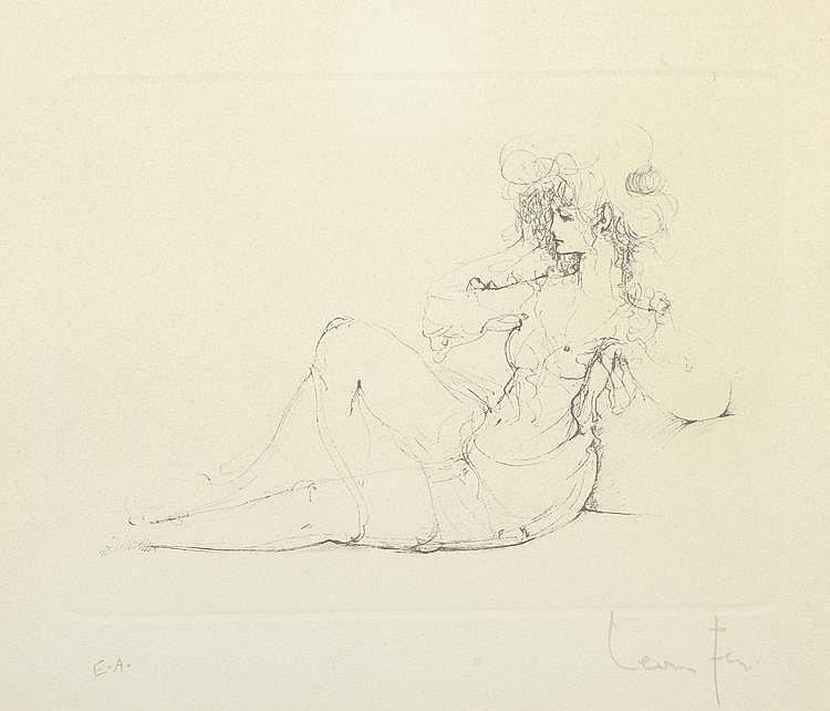 Léonor FINI. «Jeune femme assise». Lithographie, épreuve d'artiste. 14 X 19 à vue.