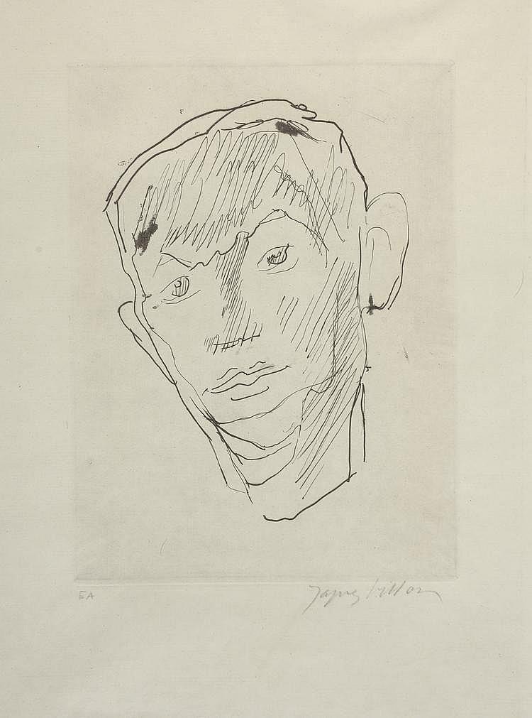 VILLON Jacques. «Tête d'homme». Lithographie, épreuve d'artiste signée en bas à droite. 21 X 16.
