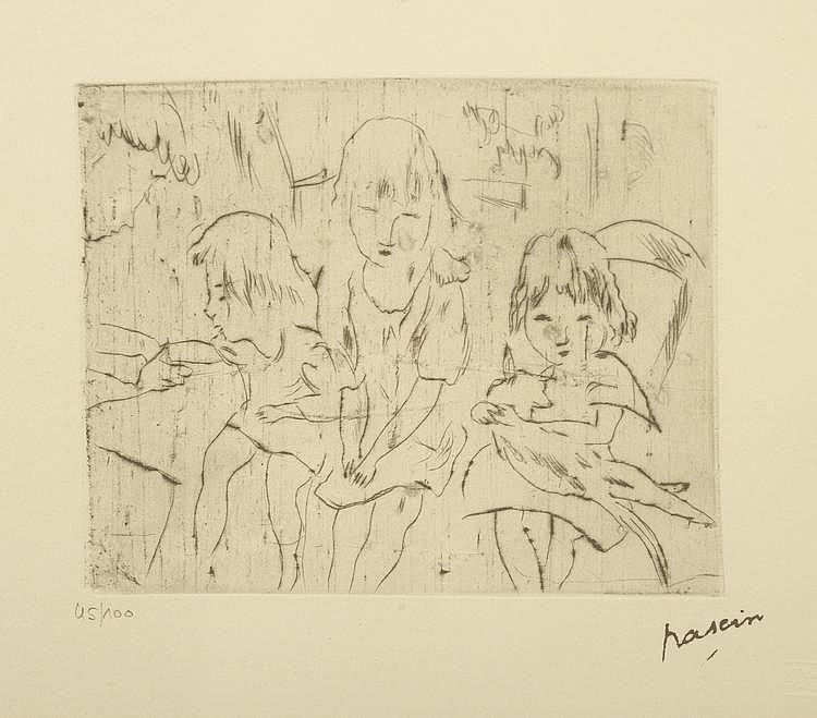 PASCIN. «Étude d'enfant». Lithographie noir & blanc n°45/100. 25 X 33.