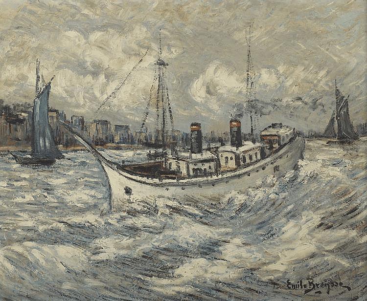 BEYSSE Émile. «Le vapeur». Panneau signé en bas à droite. 52 X 62.