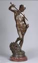 MERCIE Antonin (1845 - 1916). «David et Goliath». Bronze à patine médaille. Signé sur la terrasse. H. 91 cm. Contre socle en marbre rouge. /29.