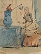Henry SOMM (1844-1907) Elegante au vase chinois. Aquarelle sur papier, signé en bas à droite. 21 x 16 cm