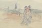 Maurice LOUVRIER (1878-1954). Promenade devant l'église. Lithographie en couleurs, signé dans la planche. 20 x 30 cm à vue