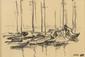 Henri MULLER (1893-1976). Bateaux au port. Dessin sur papier, signé du monogramme en bas à gauche. 9,5 x 14 cm