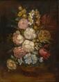 Ecole française, Anonyme XIX XXe. Bouquet de fleurs. Huile sur toile. 46 x 33 cm.