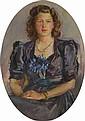 Ecole Française XXème  « portrait de dame assise »  Toile ovale  92 x 70 cm  /45