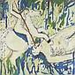 POUILLET Alain  « celui qui chasse seul »  Toile légendée signée et datée Février 1985 au dos  100 x 100 cm  /29