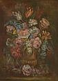 Ecole FRANCAISE du XXème siècle  « Bouquet de fleurs »  Toile  64 x 47,5 cm  Expert : R. MILLET