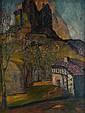 Gustavo de MAEZTU (1887-1947)  « Cloître dans un paysage »  Huile sur toile, signée en bas à droite  85 x 65 cm