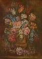 L. CHENIER  (Actif au XXème siècle)  « Vase de fleurs sur un entablement »  Sur sa toile d'origine  62 x 38,5 cm  Signé en bas à droite L. Chenier  Expert : R. MILLET  /4