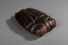 Cigale,  symbole de résurrection en jadéite ciselée. Était placé entre les dents du défunt pour permettre le départ de l'âme. Chine. Dynastie Zhou. 770 à 220 avant JC. L15cm