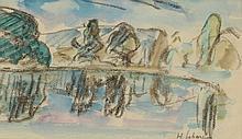 Henri LEBASQUE (1865-1937) .   Bord du lac.   Aquarelle et fusain .   Signé en bas à droite .   8,5 x 15,5 cm à vue .   .