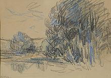 Maximilien LUCE (1858-1941) .   Paysage lacustre.   Crayons gras .   Signé en bas à gauche .   14 x 20 cm à vue .   .