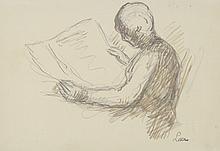 Maximilien LUCE (1858-1941) .   La lecture.   Crayon, encre et encre brune .   Signé du cachet en bas à droite .   18 x 26 cm à vue .