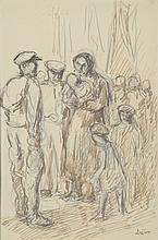 Maximilien LUCE (1858-1941) .   En famille.   Encre, encre brune et crayon .   Signé en bas à droite .   27 x 18 cm à vue .