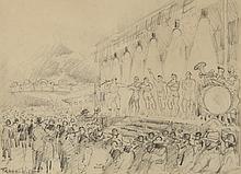 Frank WILL (1900-1951) .   Les acrobates à la foire.   Crayon .   Signé en gauche .   23 x 32 cm à vue .