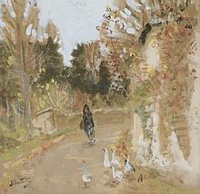 Eugène MONTEZIN (1874-1946).   La gardienne d'oie.   Gouache sur papier, signé en bas à gauche.   24 x 24 cm à vue .
