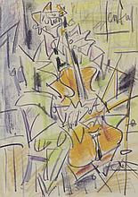 GEN PAUL (1895-1975) .   Le contrebassiste, circa 1950.   Crayolors .   Signé en haut à gauche .   40 x 28 cm à vue .   .