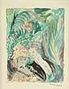 Emilio GRAU-SALA (1911-1975) .   Conversation galante au jardin.   Aquarelle .   Signée en bas à droite .   15 x 12 cm à vue .