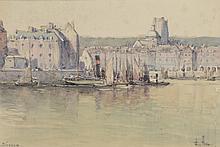Emile APPAY (1876-1935).   Dieppe.   Technique mixte sur papier, signé en bas à droite et situé en bas à gauche.   18,5 x 28 cm à vue  .