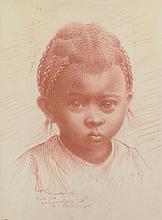 Joseph  RAMAMANKAMONGJY (1898-1982).   Portrait de jeune fille.   Sanguine sur soie, signée et titrée en bas à gauche.   23 x 17 cm.