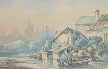 Albert GIRARD (1839-1920).   Village en bordure de rivière, 1881.   Aquarelle sur papier, signé et daté en bas à droite.   23 x 36 cm à vue.
