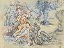 Kurt HINRICHSEN (1901-1963) .   Scène galante.   Aquarelle, gouache, crayons de couleur et crayon .   Signé du cachet en bas à droite .   21,5 x 29 cm à vue .   Petit accident vers la bordure à droite.   .   .