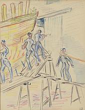 Kurt HINRICHSEN (1901-1963) .   Ouvriers aux chantiers navals.   Aquarelle et crayons de couleurs .   Signé du cachet en bas à droite .   21 x 17 cm à vue .