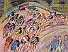 Maurice EMPI (né en 1933).   Cyclistes.   Gouache sur papier, signé en haut à droite.   48 x 62,5 cm à vue.   .