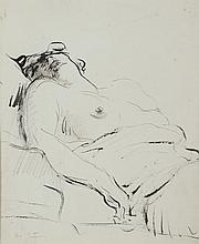 Abel BERTRAM (1871-1954) .   Nu couché.   Encre .   Signée en bas à gauche .   30 x 25 cm à vue .