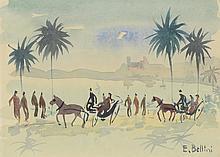 Emmanuel BELLINI (1904-1989) .   Promenade en calèche.   Aquarelle .   Signée en bas à droite .   15,5 x 22,5 cm .