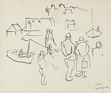 Pierre AMBROGIANI (1907-1985) .   Port animé.   Feutre .   Signé en bas à droite .   30 x 36 cm .