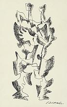 Ossip ZADKINE (1890-1967) .   Deux personnages.   Encre .   Signée en bas à droite .   28 x 17 cm à vue .