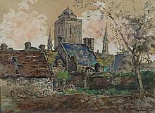 Charles TOCHÉ ((1851-1916) ) .   Eglise, Vieux Locronan, 1911.   Aquarelle .   Signée en bas à droite, datée et située .   37 x 50 cm à vue .