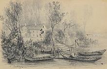 Charles-François DAUBIGNY (1817-1878) .   Souvenir de l'Ile Seguin.   Encre et crayon .   Signée en bas à gauche .   12 x 18,5 cm à vue .   Légèrement insolé, petit manque.  .   .
