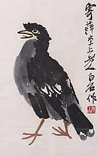 Chinese Bird Painting Graphic after to Qi Baishi with Frame