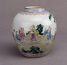A Famille Rose Jar with Eight Immortals