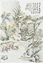 Porcelain Plate Painting of Chinese Landscape