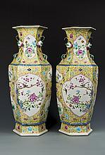 Pair of Polyhex Famille Rose Porcelain Vases