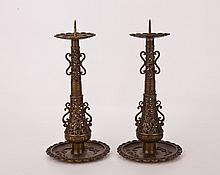 A Pair of Bronze Candle Holder