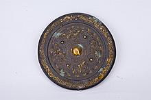 Chinese Gilt Gold Bronze Mirror