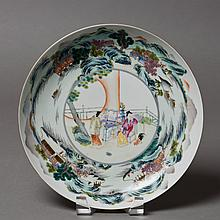 A CHINESE PORCELAIN PLATE OF LANDSCAPE MOTIF