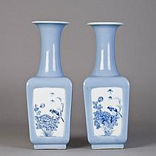 A PAIR OF CHINESE LIGHT BLUE GLAZED SQUARE VASES