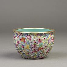A SMALL CHINESE FAMILLE ROSE PORCELAIN URN