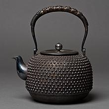 A JAPANESE BLACK SILVER TEAPOT WITH BOX