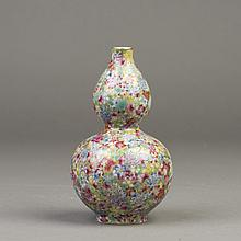A CHINESE FAMILLE ROSE PORCELAIN VASE OF GOURD SHAPE